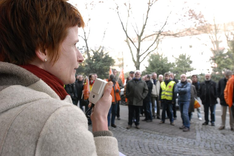Conny Haß bei Frankfurter Warnstreik
