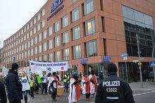 Protestaktion der KollegInnen der Deutschen Welle