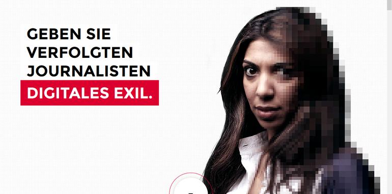 Screenshot der Website zur Aktion Digitales Exil von Reporter ohne Grenzen