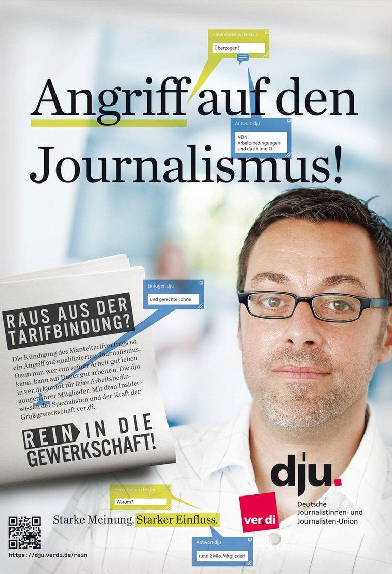 Kampagne rein in den Journalismus Plakat Angriff auf den Journalismus