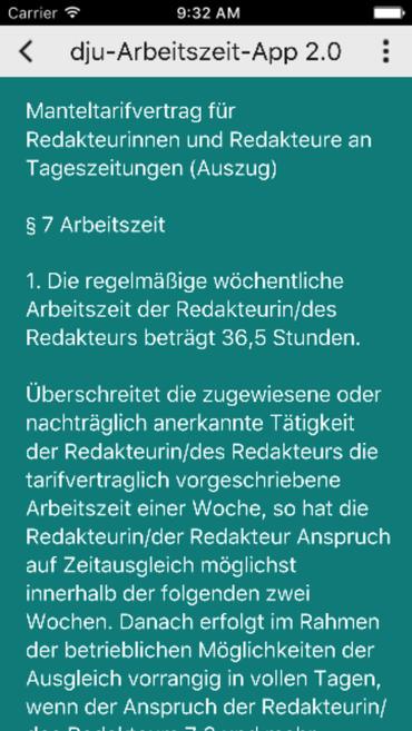 Arbeitszeit-App Tarifverträge