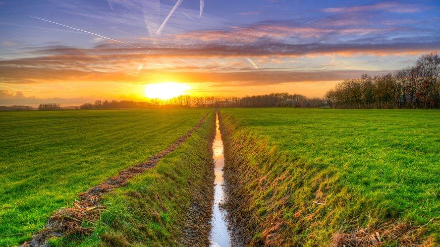 Ein Graben zwischen zwei Feldern vor einem Sonnenuntergang