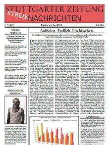 Streikzeitung 1 6 2018 Stuttgart Titelseite