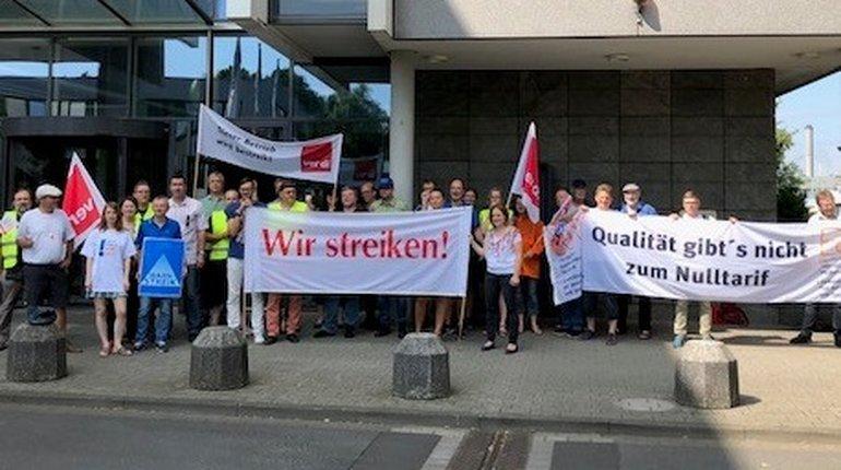 Die Redaktion des Main-Echo in Aschaffenburg streikt zusammen mit Kolleg_innen der Frankfurter Neuen Presse