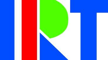 Das Logo des Instituts für Rundfunktechnik: Versalien IRT in blau, rot und grün